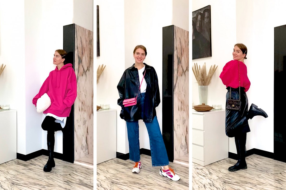 Valentine Looks. Fashion Blogger Girl by Style Blog Heartfelt Hunt. Girl with blond, low bun wearing different valentine looks with a pink sweater, pink hoodie and a pink bag.
