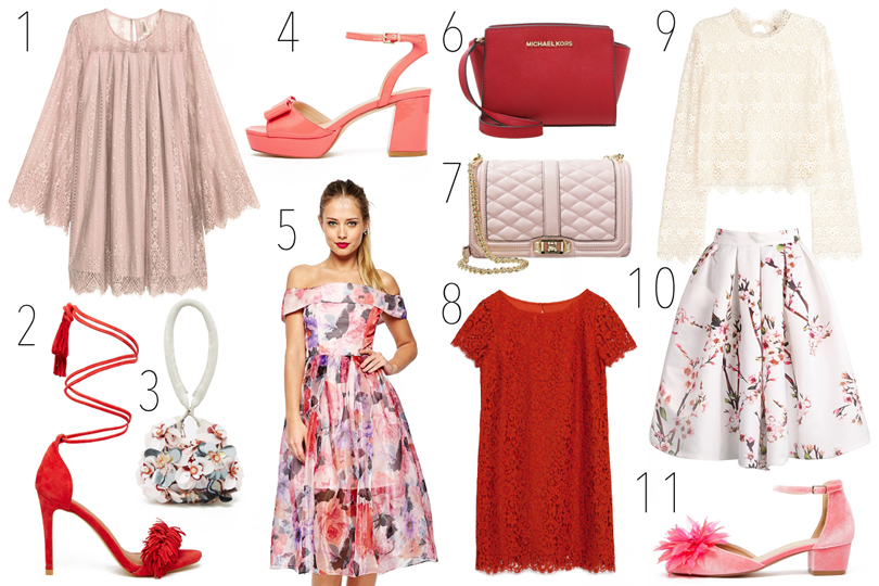 Collage of romantic clothes and accessories for Valentine's Day