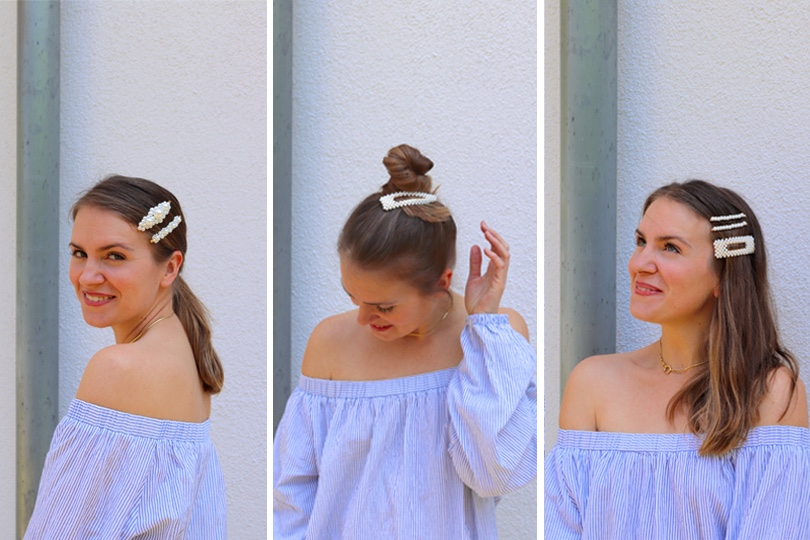Pearl Hair Clips Styles. Fashion Blogger Girl by Style Blog Heartfelt Hunt. Girl with blond hair and pearl hair clips wearing a striped off shoulder top and mom jeans.