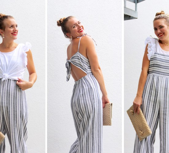Ways To Wear Jumpsuits. Fashion Blogger Girl by Style Blog Heartfelt Hunt. Girl with blond high bun and a pearl hair clip wearing a striped jumpsuit, ruffled T-shirt, straw clutch and heels.