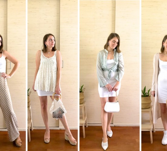 Ways To Wear Slip Dresses. Fashion Blogger Girl by Style Blog Heartfelt Hunt. Girl with blond long bob wearing a slip dress in 4 different ways.