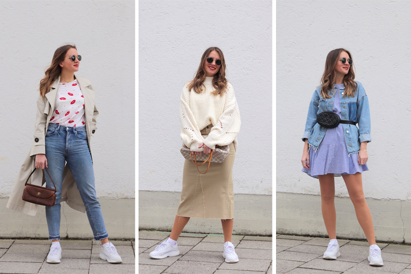Ways To Style Sneakers. Fashion Blogger Girl by Style Blog Heartfelt Hunt. Girl with blond hair, showing 3 ways to style sneakers - Look 1 T-Shirt, Mom Jeans, Coat, Round Sunglasses, Vintage Purse, Chunky White Sneakers - Look 2 Chunky Off-White Sweater, Skirt, Round Sunglasses, Louis Vuitton Bag, Chunky White Sneakers - Look 3 Floral Dress, Denim Jacket, Round Sunglasses, Belt Bag, Chunky White Sneakers.
