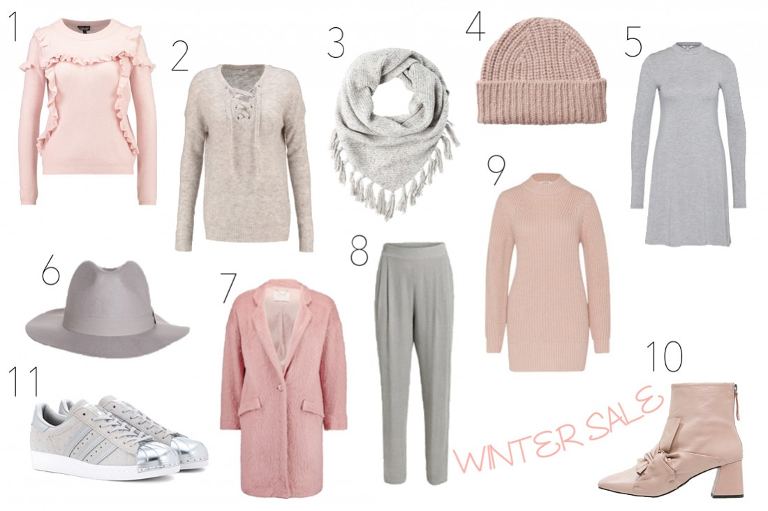 Winter Sale 2017. Fashion Blogger Girl by Style Blog Heartfelt Hunt. Girl showing some winter sale pieces like a ruffled sweater, lace up sweater, fringe scarf, beanie, turtleneck dress, hat, pink coat, trousers, turtleneck sweater, bow boots and adidas sneakers.