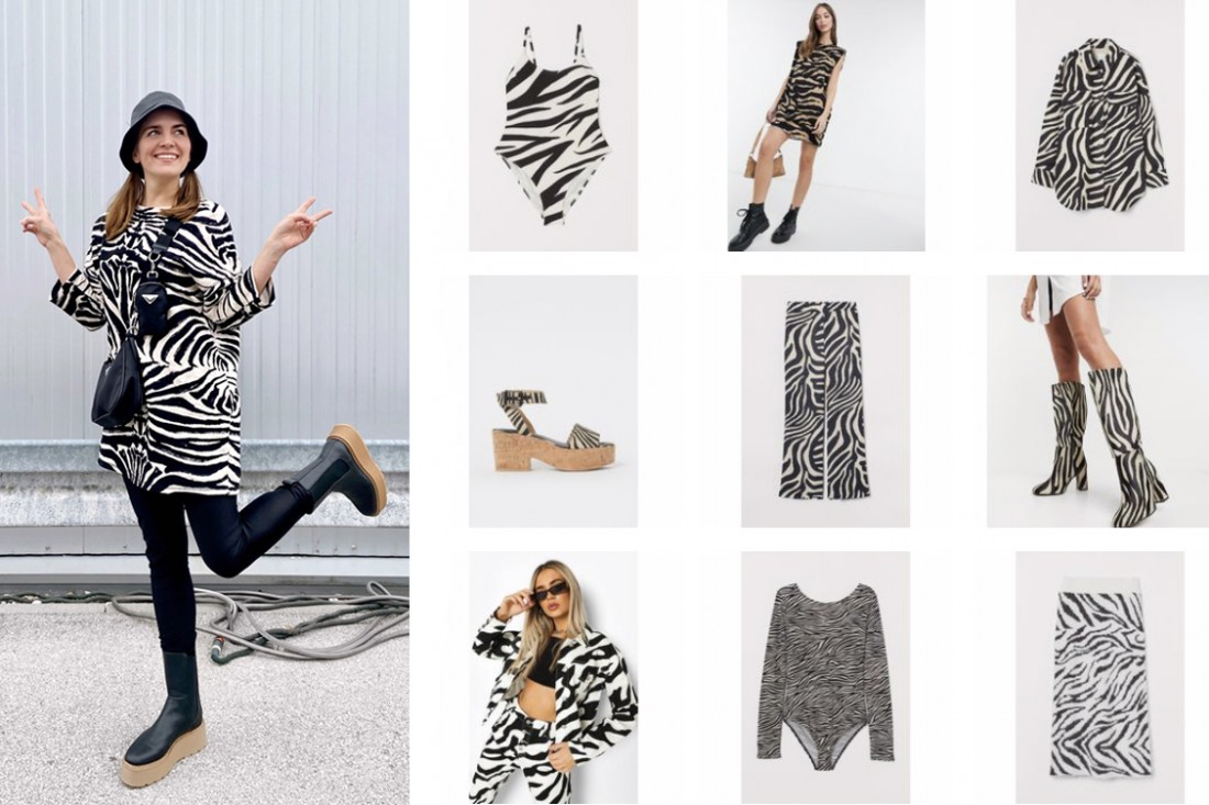Zebra Print Trend. Fashion Blogger Girl by Style Blog Heartfelt Hunt. Girl with blond hair wearing a zebra print dress, bucket hat, 90s bag, faux leather leggings and chelsea boots.